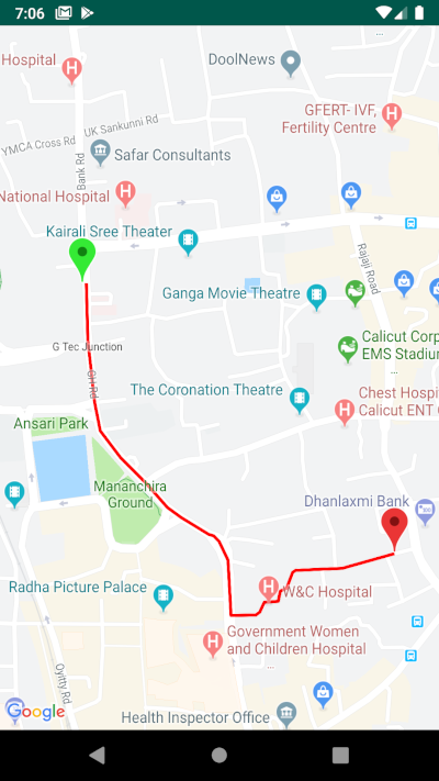 Drawing driving route directions between two locations using Google